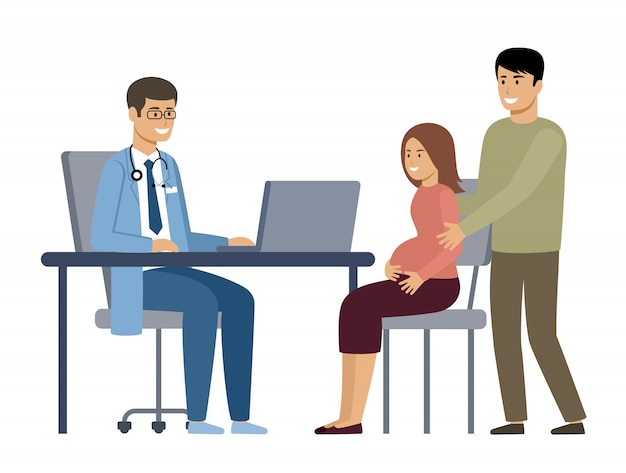 Pregnant woman with her husband at a doctor's consultation