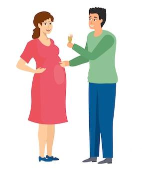 남자와 임신. 흰색 배경에 임신 개념입니다. 남편은 임신 한 아내에게 아이스크림을 준다. 삽화