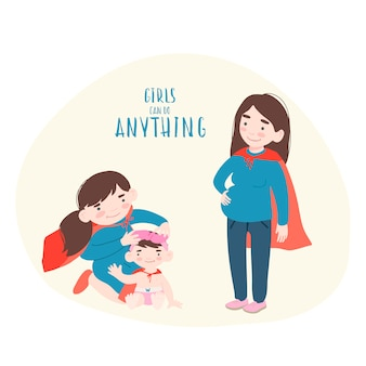スーパーヒーローの衣装で2人の娘と妊娠中の女性