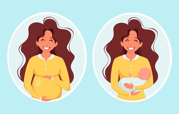 Pregnant woman woman with newborn pregnancy motherhood