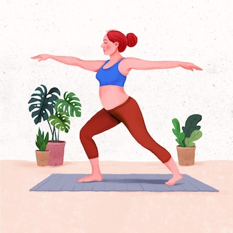 Pregnant woman working out pregnant woman training yoga at home