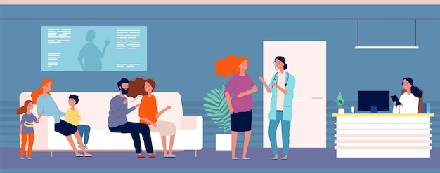 医者の妊婦。産婦人科医のオフィスに列を作る