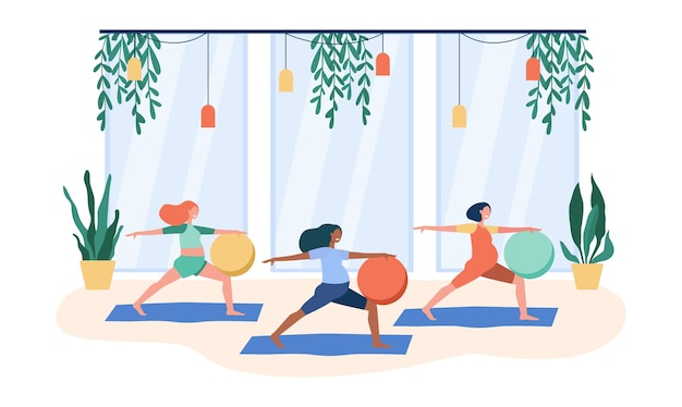 Pregnant women doing exercises with big ball. cartoon illustration