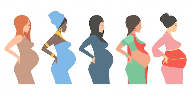 Pregnant women, future mothers of different nationalities.
