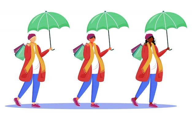 妊娠中の女性のイラストセット。幸せな妊娠時間。赤ちゃんを待っています。若い母親は白い背景の上の傘の漫画のキャラクターの下で買い物に行く