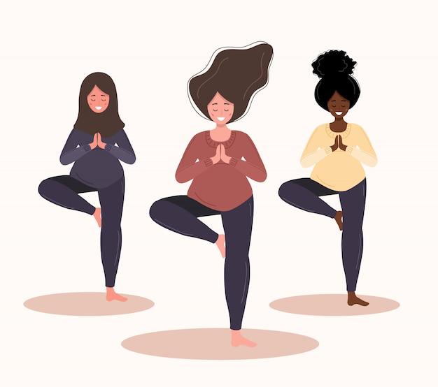 ヨガの位置にある妊娠中の女性。白い背景のスタイルでモダンなイラスト。コレクション健康的なライフスタイルとリラクゼーション。幸せな妊娠の概念。