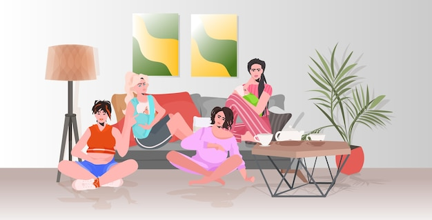 Pregnant women and mothers with children discussing during meeting girls sitting together pregnancy motherhood concept
