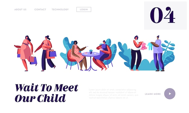 Pregnant women spend time together going shopping, visiting cafe, website landing page template