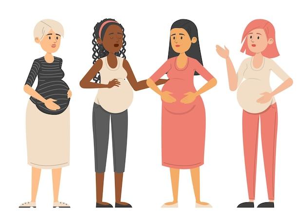一緒に立っている妊婦イラストイラスト