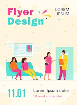 Pregnant women waiting at doctor office in clinic, sitting on couch or consulting specialist flyer template
