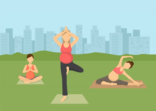 Pregnant women yoga in city vector illustration . prenatal yoga, pilates class on green grass with cityscape. female flat characters exercising, yogi sitting in lotus pose namaste.