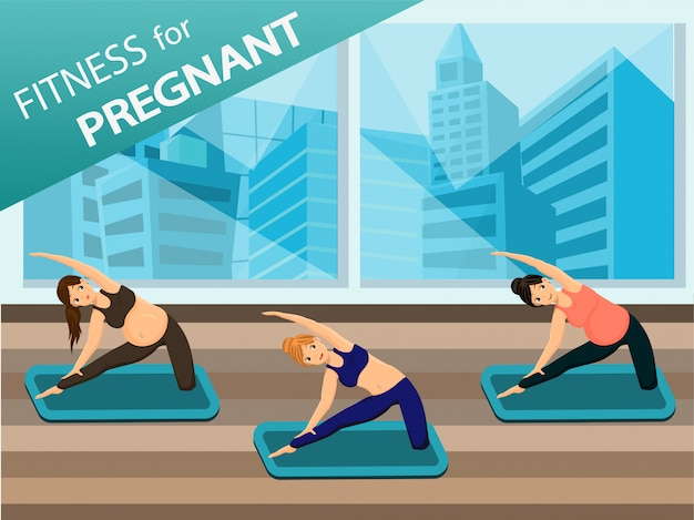 Pregnant women do yoga