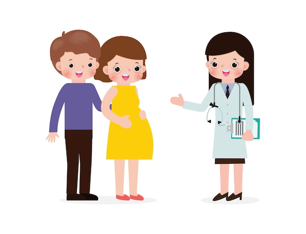 의사 임신과 산전 의료 개념을 방문하는 임신한 젊은 여성.