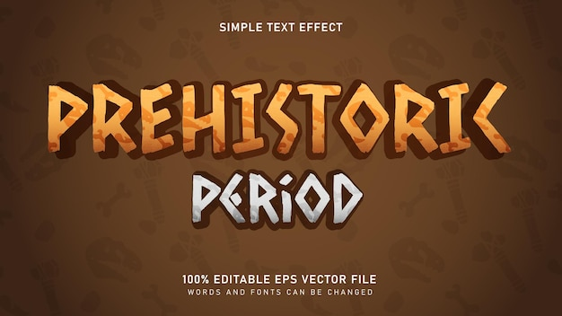 Текстовый эффект доисторического древнего периода Premium векторы