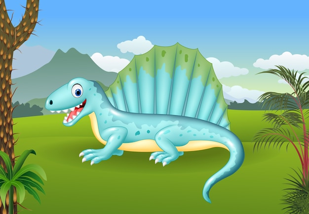 Prehistoric background with dinosaur