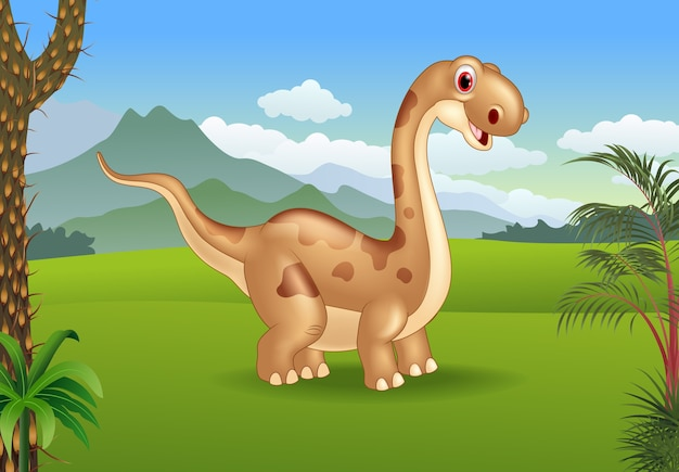 Prehistoric background with dinosaur