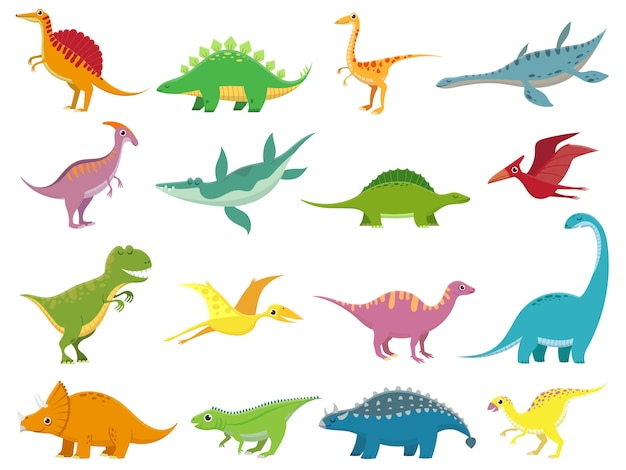 Prehistoric cartoon animals of jurassic era isolated set
