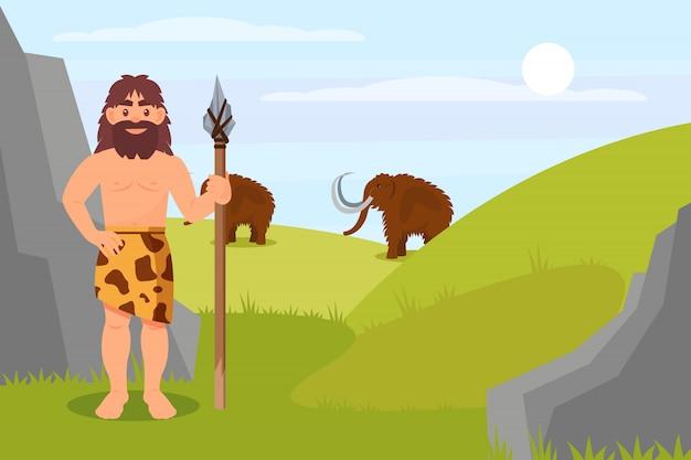 槍、石器時代の自然の風景のイラストを保持している動物の皮膚の先史時代の穴居人のキャラクター