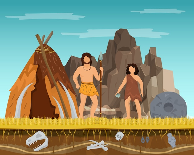 Prehistoric couple woman and man staying ancient tent, past ages time character male female flat vector illustration.