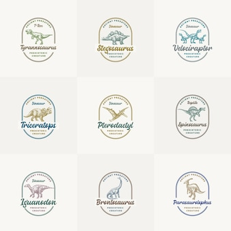 Prehistoric creature dinosaur logo templates collection hand drawn ancient reptiles with retro typography in frames