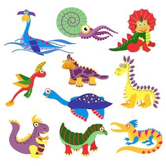 Доисторические милые иллюстрации динозавров, изолированные на белом фоне. набор символов динозавра в цветных динозаврах диких животных