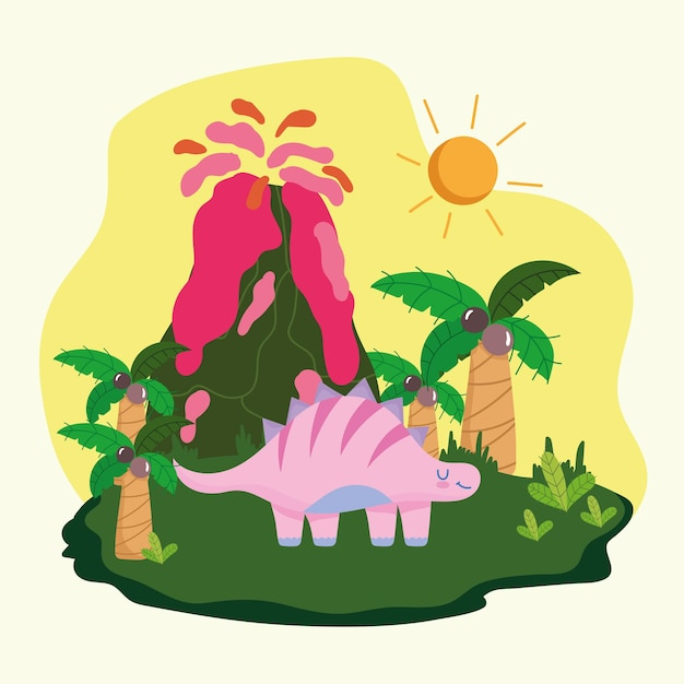 Prehistoric dinosaur and volcano