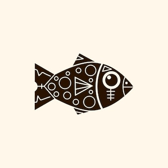 Prehistoric fish with patterns retro background vector illustration.stone age