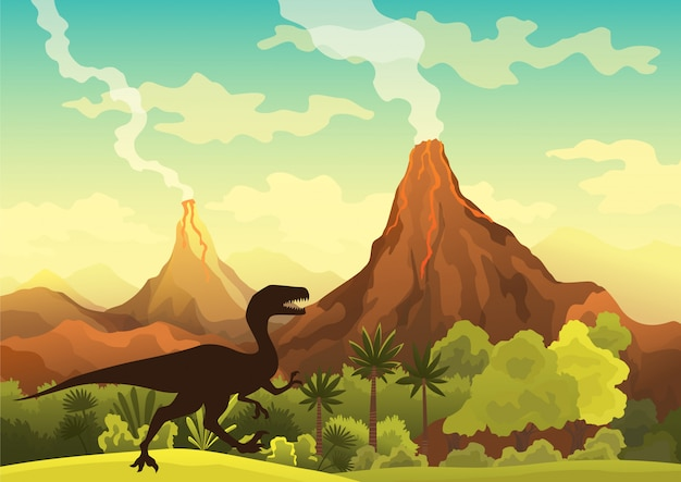 Prehistoric landscape - volcano with smoke, mountains, dinosaurs and green vegetation.  illustration of beautiful prehistoric landscape and dinosaurs