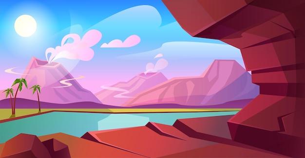 Доисторический пейзаж с вулканом, горами, озером и пальмами