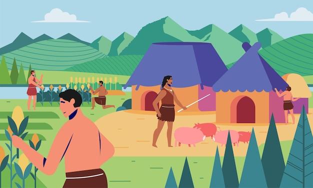 食糧需要を満たすために家畜を飼育し育てることによる古代の人間文化の先史時代の生活