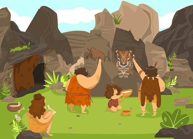 Prehistoric people drawing on rock, stone age cavemen and cute child in primitive tribe,  illustration