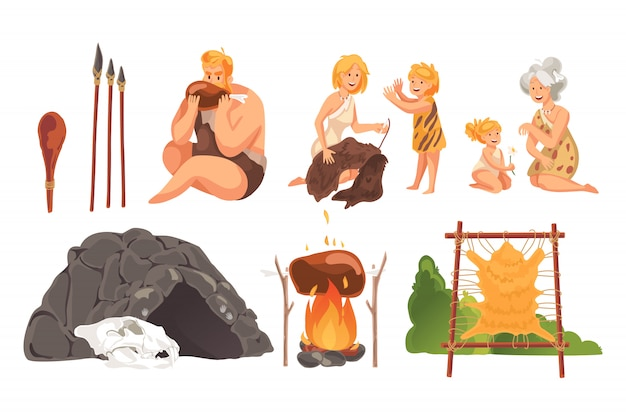Prehistoric people stone age set concept