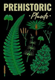 Доисторические растения вертикальный плакат