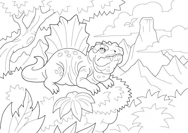 Prehistoric predatory dinosaur dimetrodon, coloring book, funny illustration