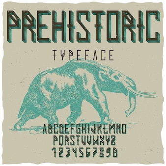 Prehistoric runes typeface poster with hand drawn mastodon on dusty