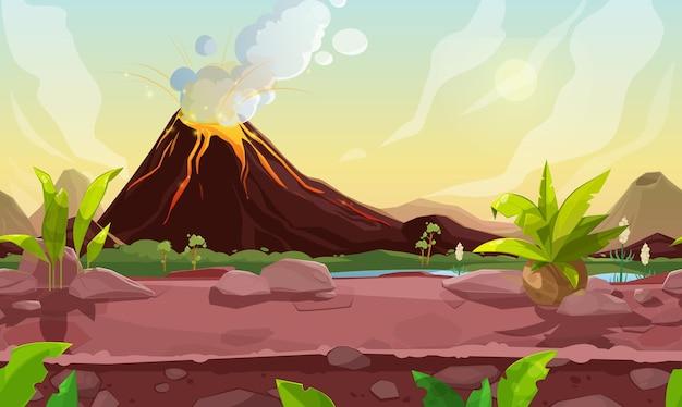 Доисторический дымящийся вулкан сцена компьютерной игры