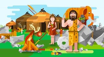 先史時代の石器時代の穴居人の組成