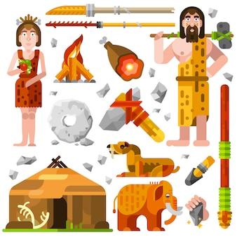 Prehistoric stone age caveman icons
