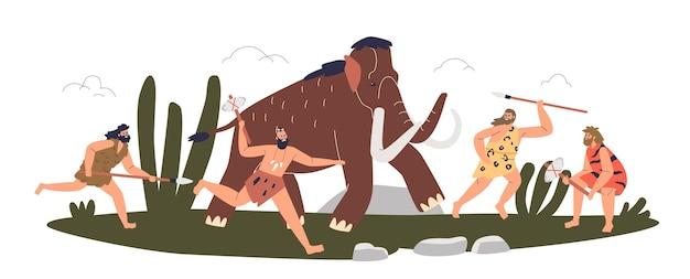 선사 시대 석기 시대 부족 공격 매머드. 거대한 동물을 사냥하는 창과 도끼로 원시인 사냥꾼. 만화 사냥꾼 싸움. 평면 벡터 일러스트 레이 션