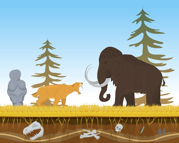 Prehistoric tiger attack ancient mammoth, character animal bite flat vector illustration. wildlife nature beast predator and herbivorous.