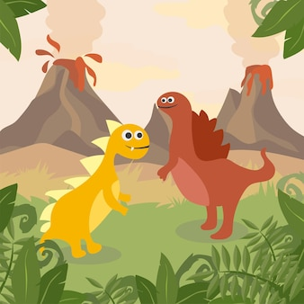 先史時代の野生生物。恐竜、山、火山のシルエットと自然の風景
