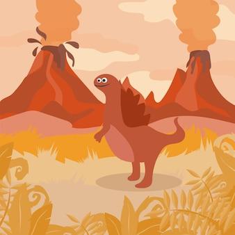 선사 시대 야생 동물입니다. 디노스, 산, 화산의 실루엣이 있는 자연 풍경