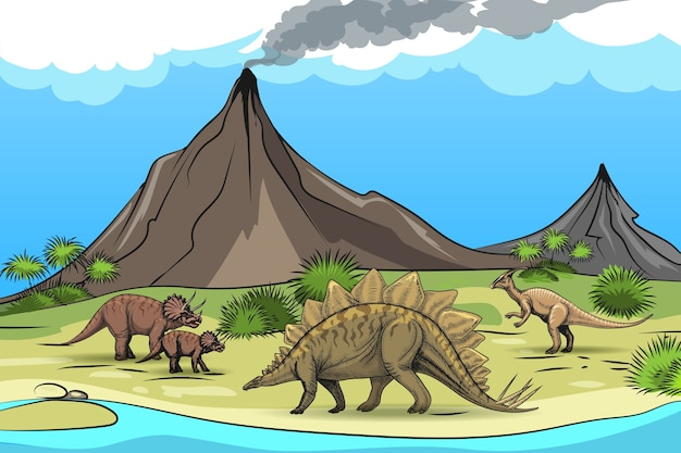 Prehistory with dinosaurs volcano. nature and reptile, tree palm, cartoon wild animal