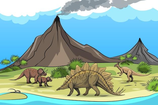 Preistoria con vulcano di dinosauri. natura e rettile, palma da albero, animale selvatico dei cartoni animati