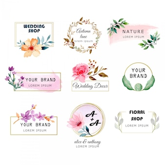 Premade logo collection with watercolor