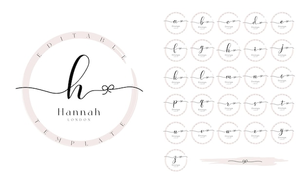 Premade logo design set with alphabet calligraphy letters and grunge circle