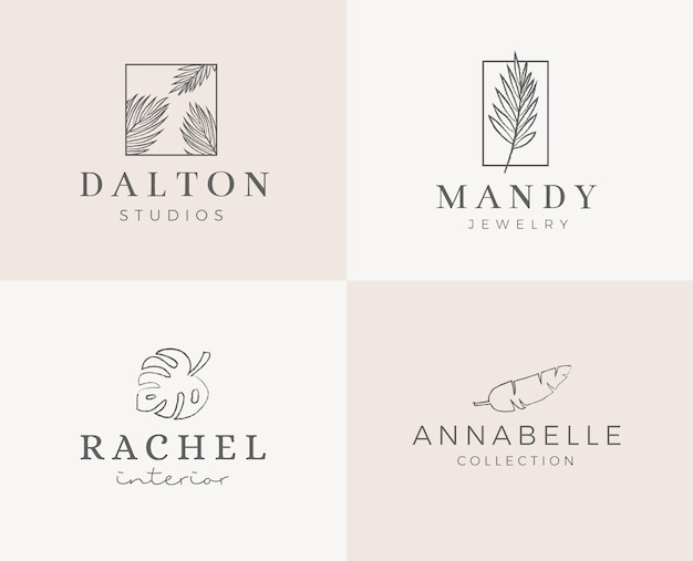 Premade logo design with minimalistic floral wreath. feminine logotype template in elegant artistic style