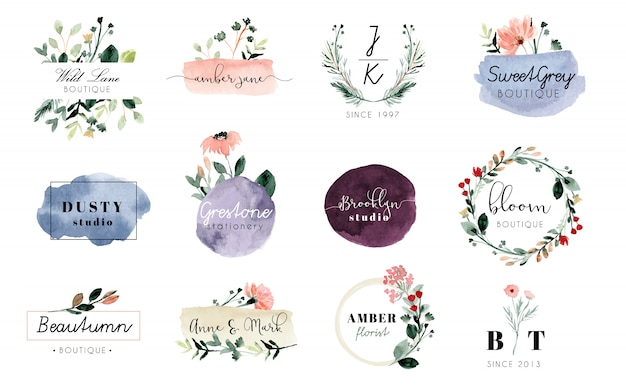 Premade logo floral and brush stroke watercolor collection