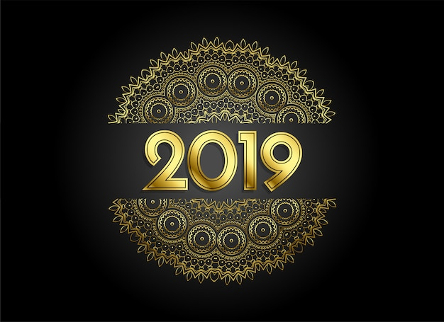 Premium 2019 golden mandala style decorative background
