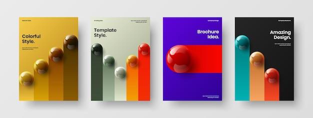 Premium 3d spheres leaflet template bundle